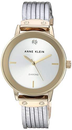 Anne Klein Women's Diamond-Accented Two-Tone Bracelet Watch