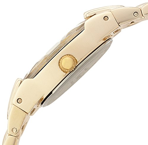 Armitron Women's Oval Faceted Wall-to-Wall Crystal Gold-Tone Bracelet Watch