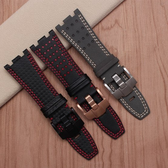 New arrival quality genuine leather watch bands 28mm replacement leather strap