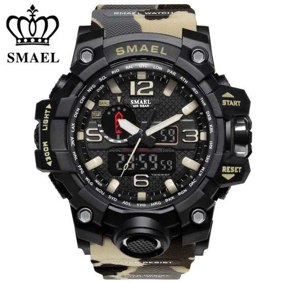 Luxury brand watches men sports dual display mens quartz watch