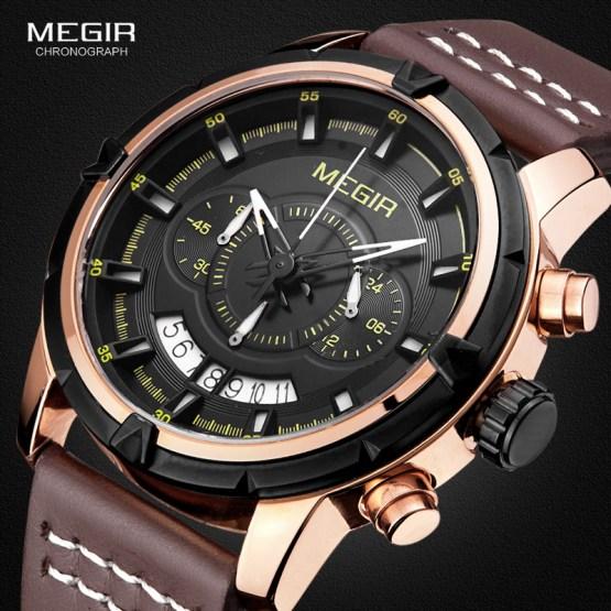 Megir Mens Brown Leather Strap Sport Chronograph Quartz Wrist Watchesa