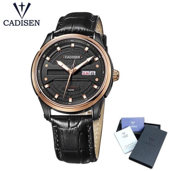 Cadisen Watch Men Top Brand Luxury Famous Male Clock Leather strap