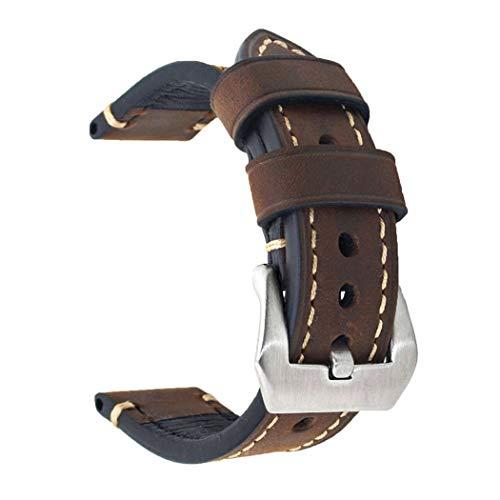 Dark Brown 24mm Genuine Leather Wristwatch Watch Band
