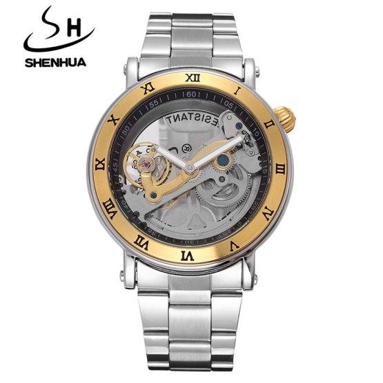 SHENHUA Luxury Gold Flywheel Automatic Mechanical Skeleton Watch