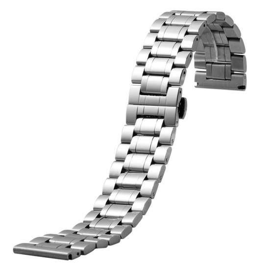 Silver Watchband Stainless Steel Mens Wrist Watch Strap Band Butterfly Clasp