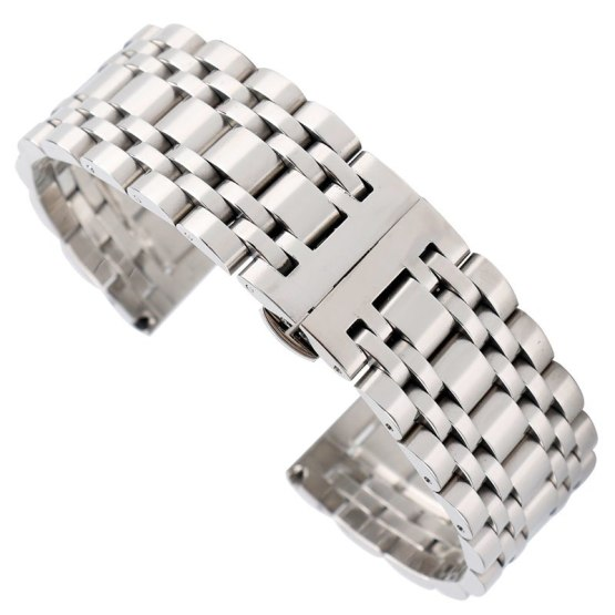 20mm 22mm 24mm Solid Stainless Steel Watch Band Strap Hidden Clasp