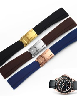 Hot Sale 20mm New Men Lady Black Strap for Clock Silicone Rubber Watch Band
