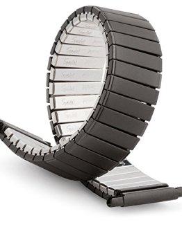 Speidel Mens Twist-O-Flex Black PVD Stainless Steel Stretch Watch Band