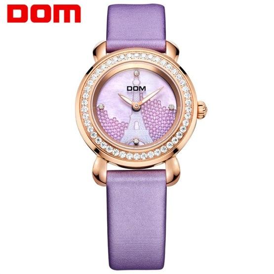 DOM women watches crystal luxury brand waterproof quartz leather watch