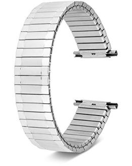 Men's Stainless Steel Stretch Watch Band, Flex Radial Expansion Replacement Strap