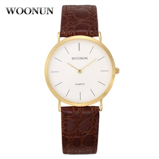 WOONUN Famous Brand Luxury Fashion Simple Watches Men Leather Band
