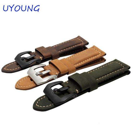 Quality Genuine Leather Watchband For Garmin Fenix 3 26mm Mens