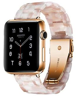 BONSTRAP Resin Watch Band with Metal Buckle for Apple Watch Series 4 3 2 1