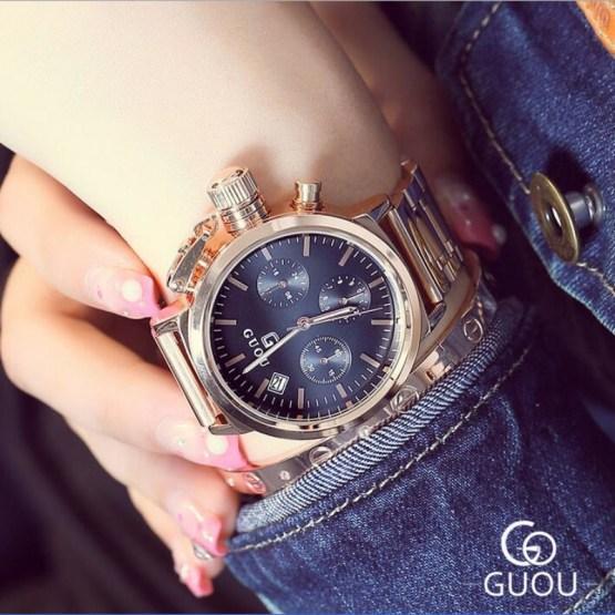 GUOU Watch Women Fashion Exquisite Rose Gold Wrist watches