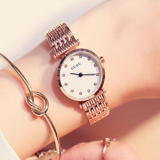 GUOU Diamond Women's Watches Rose Gold Fashion Bracelet Ladies Wrist Watch