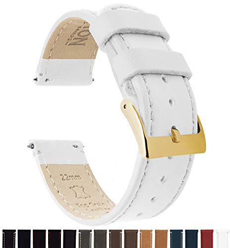 Barton Quick Release Leather Gold Buckle Watch Band Strap - Choose Color