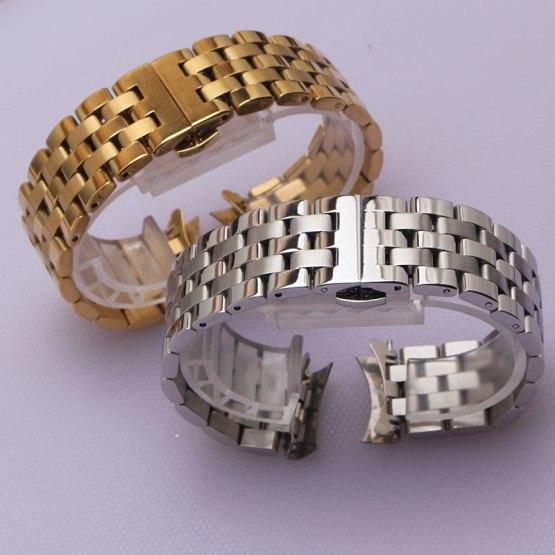 16mm 18mm 20mm 22mm 24mm Silver Gold Stainless Steel watch Strap Bracelets