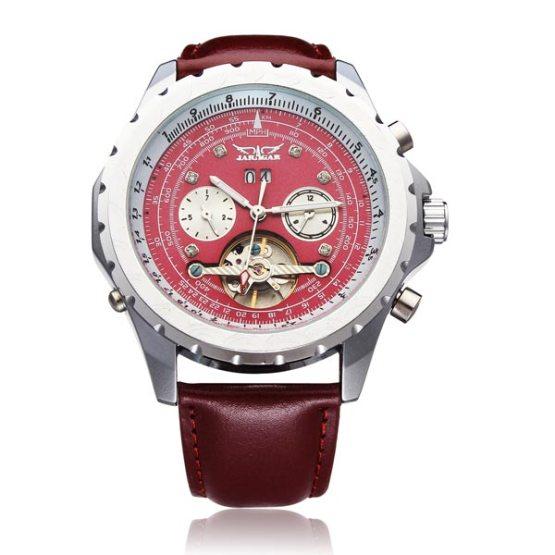 JARAGAR Brand Luxury Automatic Mechanical Tourbillon PU Leather Red Men Wrist Watch