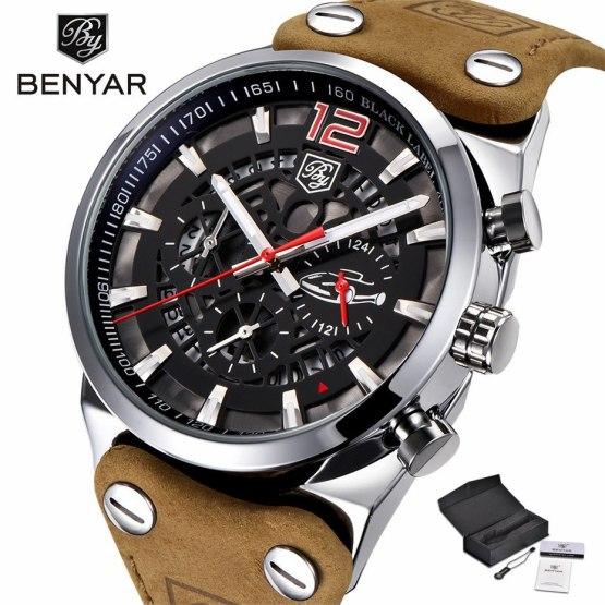 BENYAR Chronograph Wrist Watch Men Military Genuine Leather Strap
