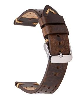 Mens Leather Watch Bands,EACHE Racing Perforated Watch Strap