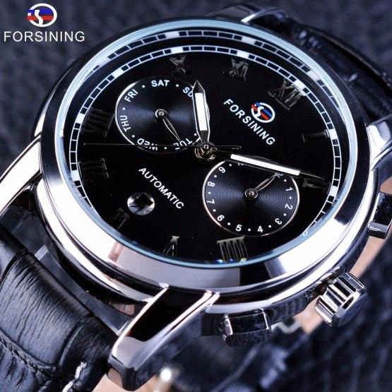 Forsining Two Eyes Calendar Display Fashion Design Genuine Leather Strap Watch