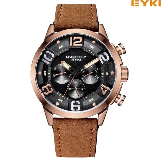 EYKI Brand Men Watch Casual Leather Watches Waterproof Quartz Watch