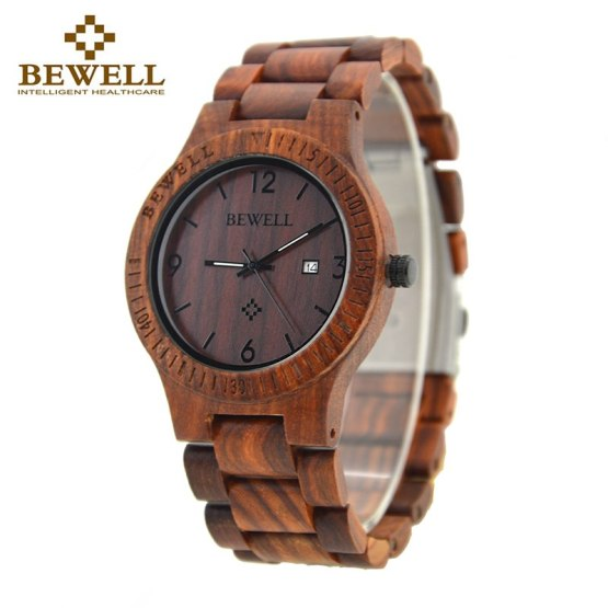 BEWELL 086B Simple Round Case light quality Date Function Mens Wooden