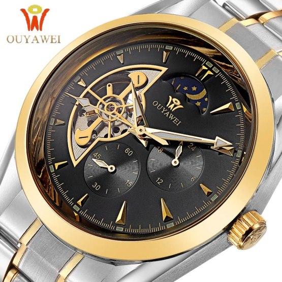 OUYAWEI GOLD Mechanical Wrist Mens Watch Top Brand Luxury Automatic