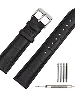 TStrap Black Leather Watch Band 20mm Leather Watch Strap