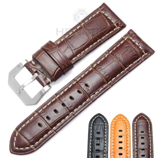 HENGRC Watchbands 24mm Brown Black Genuine Leather Women Wen Watch