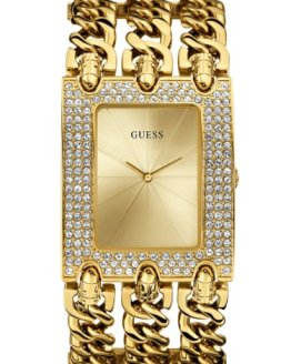 GUESS Women's Rocker Glitz Multi-Chain Gold-Tone Watch