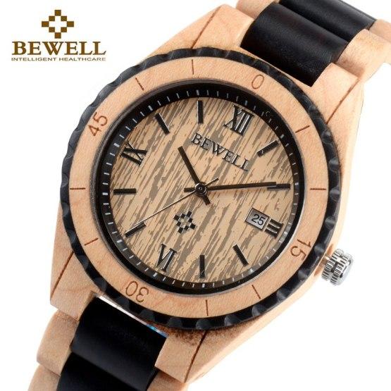 BEWELL 128AG Unique Design Wood Watches for Men Analog Quartz