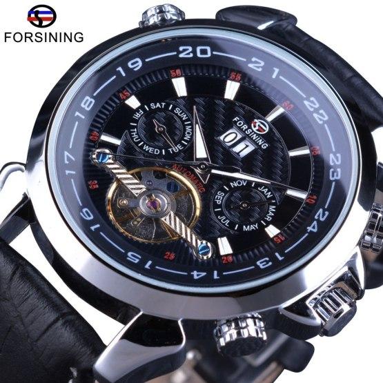 Forsining Tourbillion Automatic Wrist Watch Calendar Display Genuine Leather
