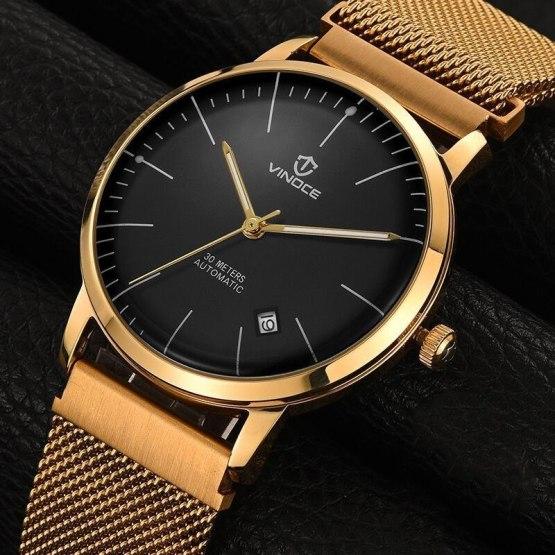vinoce Fashion Men Watch Men Automatic Mechanical gold Wrist