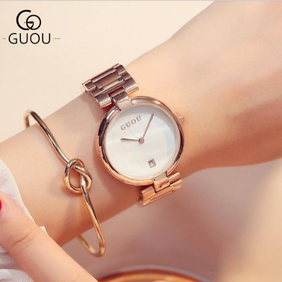 GUOU Watches Classic Vogue Wrist Watches Women Auto Date Ladies Watch