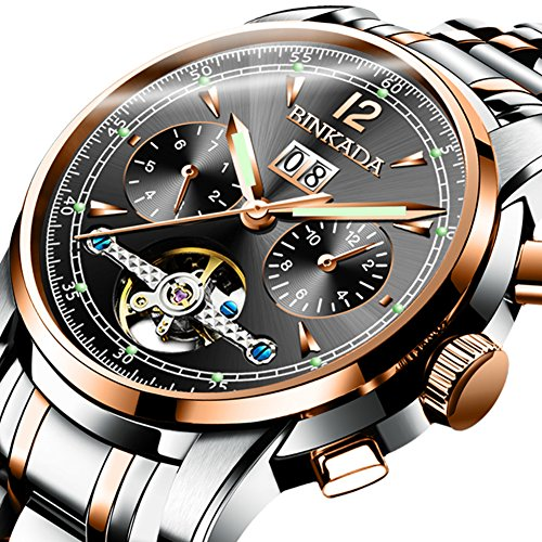 QWERTYUIOP Men's Skeleton Waterproof Watch Automatic Mechanical