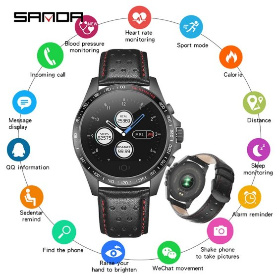 zk30 SANDA CK23 Leather Smart Watch IP67 Waterproof Heart Rate Monitor