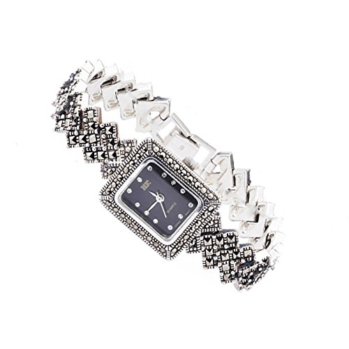Sterling Silver Wristwatch Silver Bracelet with Marcasite Luxury Vintage Jewelry Sterling Silver Wristwatch 925 Silver Bracelet with Marcasite Luxury Vintage Jewelry