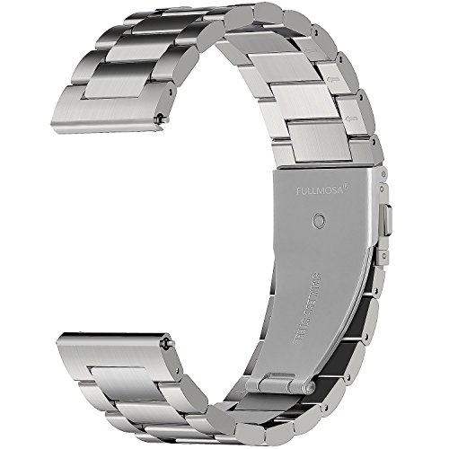 Fullmosa Watch Band 18mm 20mm 22mm 24mm, 3 Colors Fullmosa Watch Band 18mm 20mm 22mm 24mm, 3 Colors Quick Release Watch Strap Compatible Samsung Gear S2 Classic,Huawei Watch 2,Moto 360, 20mm Silver
