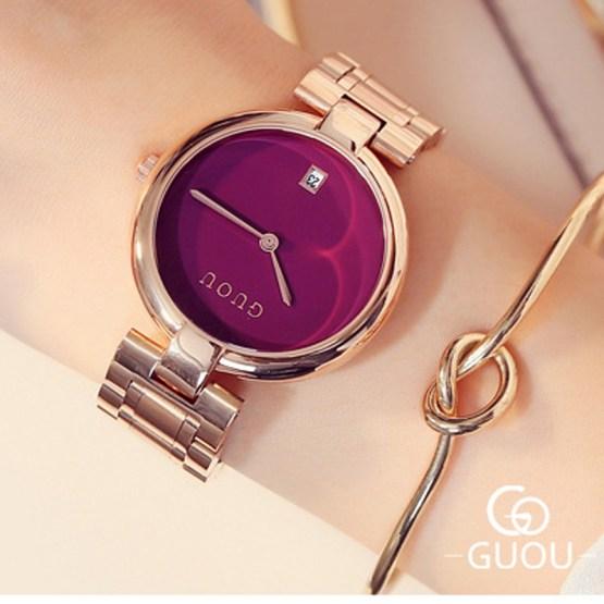 GUOU Watch Fashion Women's Watches Rose Gold Ladies Watch