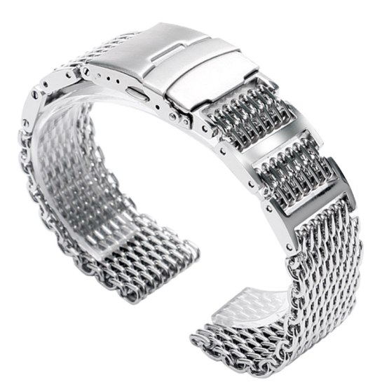 22mm Stainless Steel Shark Mesh Watch Band Strap Push Button Solid Link Silver