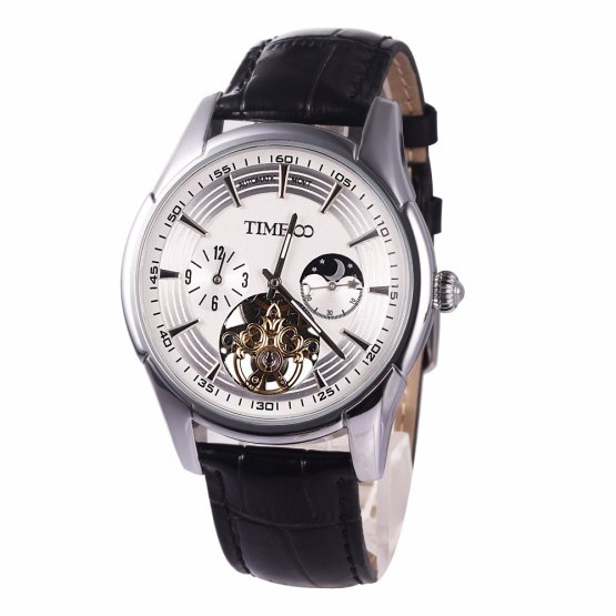 Time100 Men Mechanical Watches Automatic Self-Wind Leather Strap