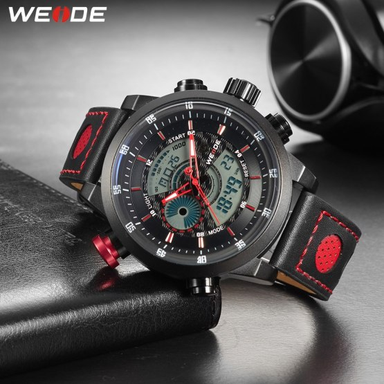 WEIDE Men Sport Casual Waterproof Quartz Date Alarm Chronograph Watches