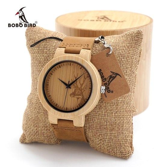 BOBO BIRD Men's wooden watches Simple Deer Design Men Top Brand Wood
