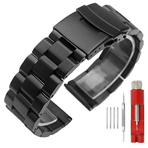 20mm Black Matte Wristband Solid Stainless Steel Watch Band