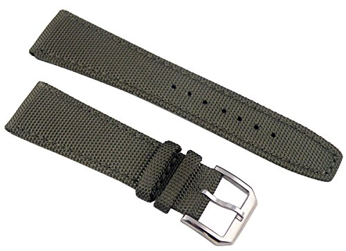 Fanmis 22mm Military Green Fabric Leather Strap Watch Band Watchband