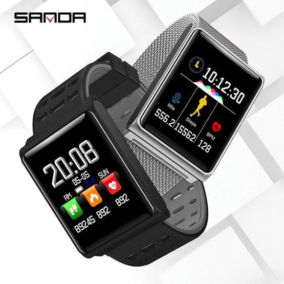 SANDA Silicone & Mesh Smart Watch Waterproof Heart Rate Monitor