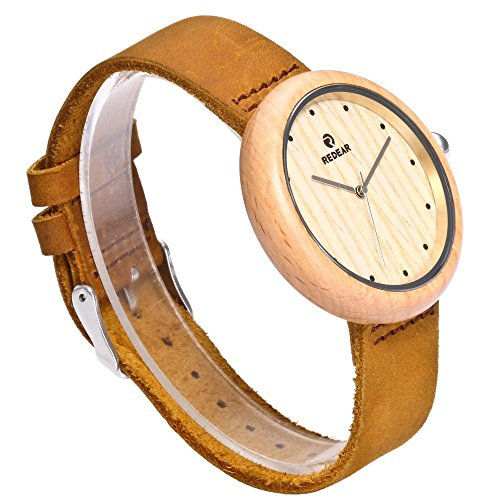 Maple Handmade Wooden Women's Big Size Vintage Wrist Watches Maple Handmade 42mm Wooden Women's Big Size Vintage Analog Quartz Wrist Watches Genuine Cowhide Leather Strap