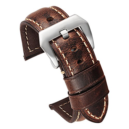 Carty Mens Watch Strap Oil Wax Calfskin Handmade Leather Watch Band