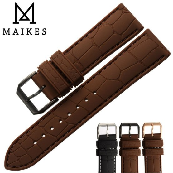 MAIKES Hot Sale Brown Silicone Band 20mm 22mm Watch Accessories
